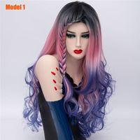 女性レインボーオムレ編組合成波状かつら天然紫色の青いピンクの髪のための長い編み物のコスプレのかつら