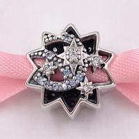Authentic 925 cuentas de plata esterlina DSN, cuando lo desee sobre un encanto estrella, los encantos de los cristales de esmalte azul claro se adaptan al estilo de Pandora europeo