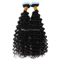 100g Afro Kinky Kıvırcık vücut suyu Derin İnsan Saç Uzantısı düz 4a 4B 4C Virgin Doğal Cilt Atkı bantı dalga