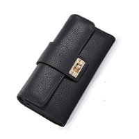 Purse Women Metal Lock Pu Wallets Purse Card Long Wallet Hol...