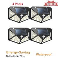 100 LED Güneş Işık Lambası Açık PIR Hareket Sensörü Güneş Enerjisi Paneli Bahçe Işık Gece Güvenlik Sokak Yard Yolu Duvar Lambası 4 taraflı