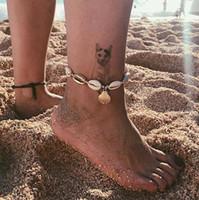 سلاسل قذيفة خلخال سلسلة معدنية الذهب قذيفة سوار الكاحل شاطئ الخلخال القدم شاطئ مصمم مجوهرات جديدة للمرأة