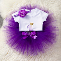 Moda Baby Girl Clothes 1 ° Compleanno neonato Tutu Dress + Body headhand Set manica corta Body Costume Party Dress Princess Y19061001