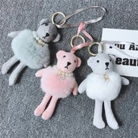 Cadeia New 17 centímetros Mink Plush saia Urso bonito Keychain Pérola Rhinestone criativa Key Bag Car Ladies Chaveiros Presentes Jóias