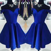 Basit Kraliyet Mavi Kapalı Omuz Mezuniyet Elbiseleri 2020 Saten Bir Çizgi Kısa Mini Stil Parti Balo Mezuniyet Elbiseleri Custom Made