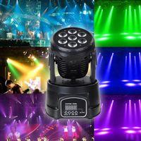 DHL Professional RGBW Mezcla Color DMX-512 Mini Mover Head Light 7 LED Disco Light DJ Equipment DMX LED Iluminación Strobe Light