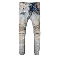 Erkek Vintage Motosiklet Moda Yeni için Stretch Pamuk Denim Biker Jeans Slim Fit Pileli Pantolon Boyalı