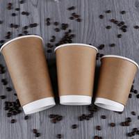 Monouso da asporto di imballaggio di carta Coppe Double Deck Cerimonia Isolamento termico del latte per tè e caffè Kraft Papers Opening Cup 0 39by L1
