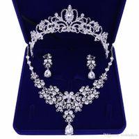 Luxus-Diamant-Hochzeit Crows Hochzeit Zubehör Frauen Schmuck Accessoires Braut Zubehör-Set mit Box (Crown + Halskette + Ohrringe)