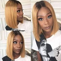 T1b 27 Ombre Full Lace Human Hair Bob Wigs Pre Plucked Tow T...