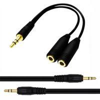 3.5mm Splitter audio Câble Jack Câble Bouchon mâle à 2 Femme Ecouteurs Extension Câbles Casques Convertir pour Samsung MP3 Tablet PC