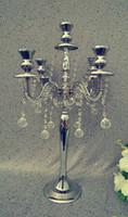 Простой 5arms канделябры висят хрустальные пряди, свадебные серебряные канделябры senyu0207