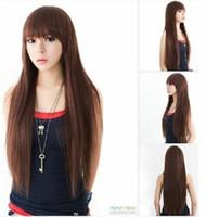 100% echtes Haar! Neue natürlich helle braune lange glatte Haare Wirklich Haarperücken