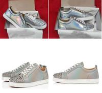 أفضل أسفل جودة أصول العلامة التجارية الأحمر الرجال حذاء رياضة جديد سكيت المسامير النساء الرجال الشظية لامعة جلد عارضة low حذاء حذاء رياضة مدرب EU35-47