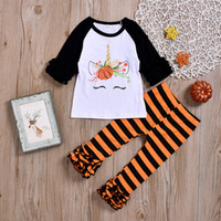 Retail boys girls Halloween Stripe unicorn 2pcs pant Suits L...