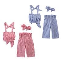 جديد ملابس الأطفال النمط الأوروبي والأمريكي الصيف الفتيات الأزياء مخطط حبال قمم + بنطلون قطعتين