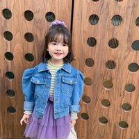 INS NUEVO Venta al por mayor Niñas Denim Abrigo Otoño Puff Manga Girl Chaqueta Calidad Niñas Jeans Abrigo Botones Delanteros Botones Niños Bountique Ropa