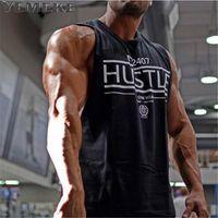 Yemeke Hombre Tank Tops Sexy Fitness Culturismo Transpirable Verano Singlets Slim Fitted Men 's Tees Blanco Negro Tee