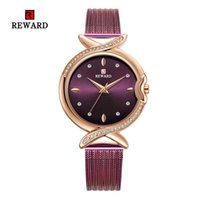 RECOMPENSA cuarzo de las señoras mujeres del reloj de los relojes de manera casual correa de acero inoxidable de diamantes mujer Reloj de pulsera Relojes azules