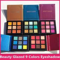 Sıcak satış Güzellik Sırlı 9 Renk hudas Makyaj Göz Farı Paleti makyaj fırçalar makyaj Paleti Pigmentli Göz Farı Paleti