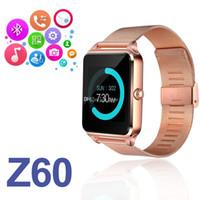 Z60 montre intelligente bluetooth smartwatch en acier inoxydable TF sim smartwatch caméra fitness tracker avec boîte de détail