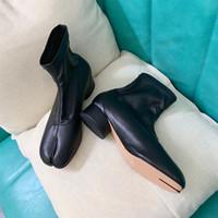 Sıcak satış-Deri Çorap Patik Tabi Yarık Topuk Lüks Moda Tasarımcısı Kadınlar Ayak bileği Ayakkabı Trotters Ayakkabı Büyükanne Tabi çorap çizmeler ayakkabı