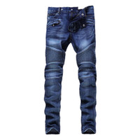 Fashion-Mens Pants Jeans Skinny Jeans Men Solid Color Distressed Ripped Slim Motorcycle Moto Biker Denim Hip Hop Fashion Trouser
