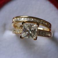 Großhandel Total 2.5ct Echtes SONA Synthetischer Diamant Eleganter Ehering Set Für Braut Feinsilber 24 Karat Gelbgold Schmuck