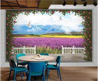 WDBH 3d Fototapete individuelle Wand Lavendel Rapsblüte Taube blauer Himmel weiße Wolke stieg Kunstdekor Wand nach Hause Landschaft Hintergrundbilder
