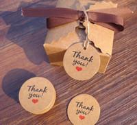 핫 홈 축제 100PCS / 많은 레드 하트 크래프트 선물 꼬리표 웨딩 파티 종이 걸림 태그 가격 라벨 끊기 태그 카드와 주셔서 감사합니다