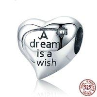 영감 Jewellry 선물 스털링 실버 스탬프 S925 꿈은 소원 편지 심장 모양의 우정 매력 것은 뱀 체인 팔찌에 맞는