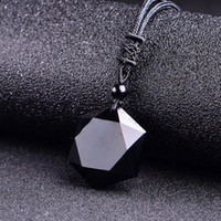 Natural Obsidian Pendant Necklaces Vintage Energy Stone Blac...