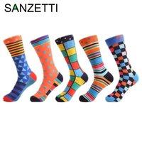 Sanzetti 5 Par / lote Nuevos hombres de colores de algodón calcetines de boda de moda Divertido Casual Crew Skateboard Calcetines Novedad Regalos MX190719