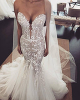 Cheap Illusion Mermaid Arabic 2019 Wedding Dresses Sweethear...