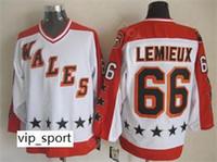 Tutto 1986 Star CCM Vintage 66 Mario Lemieux Jersey Uomo Hockey su ghiaccio Tutto cucito Colore bianco Sport Eccellente qualità