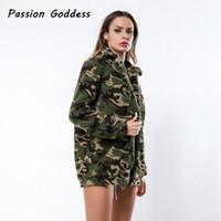 Winter Frauen Camouflage Reißverschluss Lämmer Jacken Revers Cool Outcoats Dicke Wolle Lämmer Jacken Umlegekragen Übergröße Warm