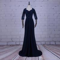 2018 wangyandress темно-шифон мать невесты Платья плюс размер свадебное платье для гостей 3/4 рукава бисер кружева пром платья