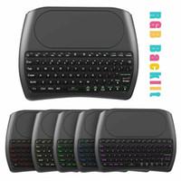 Neue Hintergrundbeleuchtung D8 Pro Plus i8 Englisch 2,4 GHz Wireless-Mini-Tastatur-Luft-Maus Touchpad-Controller für Android TV BOX Mini-PC