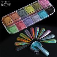 Laser Holographic prata azul Nails Glitter Pó DIY Verão Charme Pigment Chrome prego Pó Flocos Art Tips Acessórios CHI-360