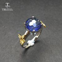 TBJ, anillo romántico con el anillo de corte de piedras preciosas recubierto de color topacio tanzanita de fútbol en joyería fina de plata 925 para las niñas como un regalo CJ191219