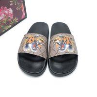 Размер 35-46 2018 Высочайшее качество Женщины Мужские тапочки Сандалии Зажимные ноги Flip Style Tiger Print Slide Sandal Floral Flip Plops Sandals