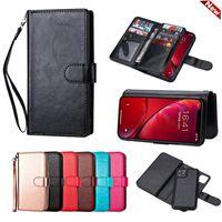 Custodie per portafogli magnetici rimovibili Copriscarpe con slot per schede per iPhone 12 Pro Mini 11 x XS Max XR 7 8 Plus Samsung S21 S20 Ultra S10 Nota 20