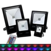 RGB Flood Işıklar 10W-200W RGB LED Flood Işıklar Açık Renkli LED Güvenlik Işık IP65 su geçirmez LED Projektör değiştirme