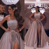 Sexy Aso Ebi arabe or rose une épaule robes de bal Une ligne haute de Split détachable train robes de soirée pailletée fête officielle Robes