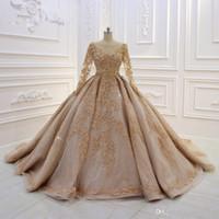 2020 High quality Lace Appliqued Ball Gown Wedding Dresses Vintage Long Sleeves Saudi Arabic Dubai Plus Size Brida Gown vestidos de novia