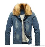Hommes Designer Vestes d'hiver épais Plus Size Denim Stand collier hommes Manteaux Casual Solide Couleur Washed Homme-vêtement