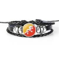 Hot venda Albânia, Andorra, Angola, Antígua e Barbuda, Bangladesh, Butão pulseira bandeira, pulseiras de couro multicamadas tecidos à mão