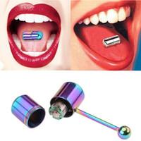 진동 혀 반지 남성과 여성을위한 2 개의 배터리 바디 피어싱 보석을 가진 양극 처리 된 외과 강철 혀 바벨