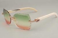 venta directa de las gafas de sol de diamantes de alta gama 8300817-A puros cuernos blancos naturales reflejan las piernas gafas de sol decorativas Tamaño: 56-18-140mm