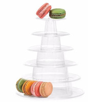 Plástico Macaron Tower Display 6-Camadas com 0.8mm Macaron Suporte para o Chuveiro Do Bebê Festa de Aniversário Bolo Suprimentos Decoração Do Casamento alta quallity